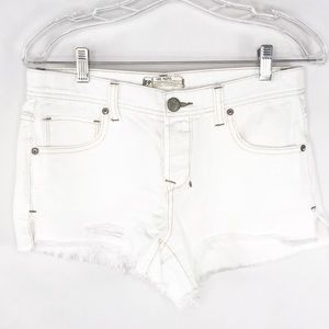Free People White Cutoff Jean Distressed Shorts 26